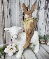Vintage Inspired Easter /Spring Rabbit on Lamb Large Paper Mache Figure