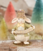 Whimsical Musical Bunny Figurine - Vintage Inspired Spring Home Decor