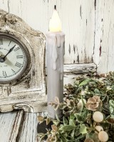 Grey Timer Taper Drip Flameless Candle
