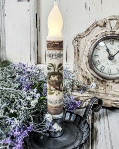 Vintage Inspired Bird Nest Handmade Timer Taper Candle