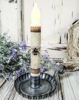 Vintage Inspired Bee on Parchment Handmade Timer Taper Candle