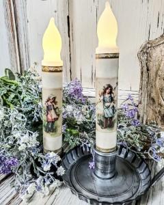 Vintage Summer Girl Set Handmade Timer Taper Candles
