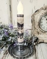 Vintage Inspired Blue Butterfly Handmade Flameless Timer Taper Candle