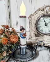 Vintage Inspired Halloween Girl & Pumpkin Handmade Timer Taper Candle