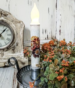 Vintage Inspired Fall Dahlia Bouquet  Timer Taper Candle