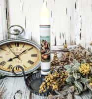 Vintage Postcard Inspired Thanksgiving Pumpkin Patch Handmade Flameless Timer Taper Candle