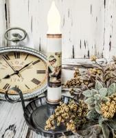 Vintage Postcard Inspired Thanksgiving Pilgrim Woman Handmade Flameless Timer Taper Candle
