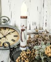 Vintage Postcard Inspired Thanksgiving Pilgrim Girl Handmade Flameless Timer Taper Candle