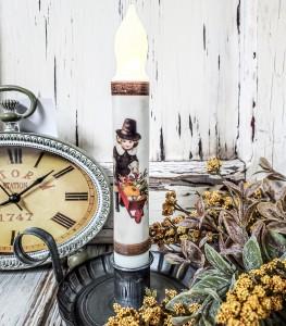 Vintage Postcard Inspired Thanksgiving Pilgrim Boy Handmade Flameless Timer Taper Candle