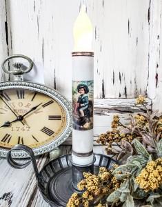 Vintage Postcard Inspired Thanksgiving Boy on Turkey Handmade Flameless Timer Taper Candle