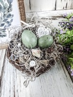 Handmade Birds Nest with Eggs- Cottage Style Home Accent