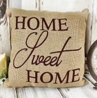 Burgandy Sweet Home Burlap Home Decor Accent Pillow