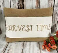 Harvest Time Burlap Autumn Home Decor Accent Pillow - Seasonal Farmhouse