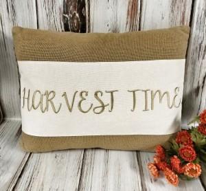 Harvest Time Burlap Autumn Home Decor Accent Pillow - Seasonal Farmhouse