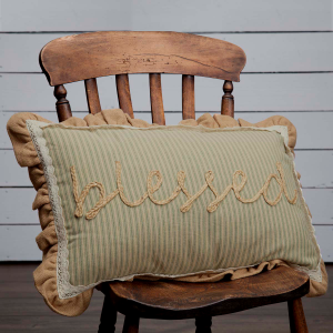Farmhouse Jute & Burlap Blessed Large Home Decor Pillow