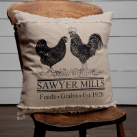 Farmhouse Feed Sack Advertising Chicken & Rooster Home Decor Pillow