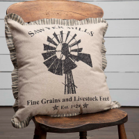 Farmhouse Windmill Feed Sack Advertising Accent Pillow
