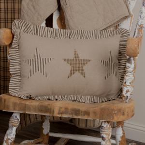 Farmhouse Style Ticking Star Large Ruffled Home Decor Pillow