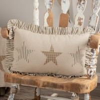 Homespun Star Ruffled Farmhouse Large Pillow