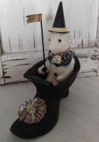 Vintage Inspired Happy Haunting Teddy in Witch Shoe Home Decoration