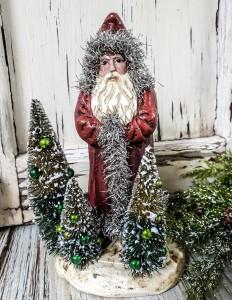 Old World Santa / Belsnickel with Bottle Brush Trees Christmas Figure