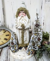 Old World Ivory Santa / Belsnickel with Bottle Brush Trees Christmas Figure