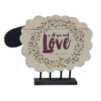 Country All You Need is Love Standing Wooden Sheep
