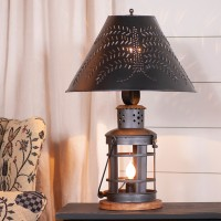 Rustic Innkeeper's Punched Tin Table Lamp - Primitive Country Home Lighting
