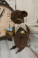 Country Handmade Spring Mouse with Robins Egg & Bird - Made in USA