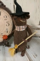 Primitive Handmade Halloween Witch Mouse